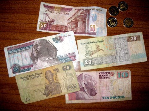 Egyptian notes and coins